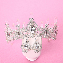 bridal jewelry sets tiara necklace and earring set Crown Tiara Rhinestone Wedding Accessories Bridal crystal jewelry 2017