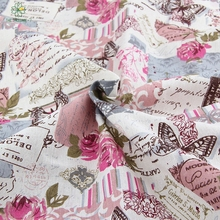 Offer retro butterfly pink linen tablecloths cloth pillow pillowcase bedding material tablecloth quilting textile145 *50 cm C-1(China)