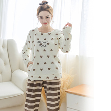 Women's home service warm two suit pajamas 2017 new flannel women set the first bed to sleep love case home clothing(China)