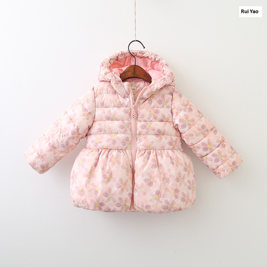 size 318669110 2017 Winter Baby Girl Coat Floral Worm Hooded Girl Outerwear Fashion Girls Clothes Lolita <br>