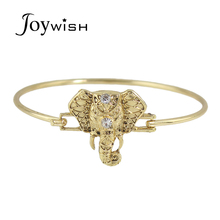 Indian Jewelry Fashion Individual Punk Style Gold-Color Bangles and Elephant Bracelet with Rhinestone