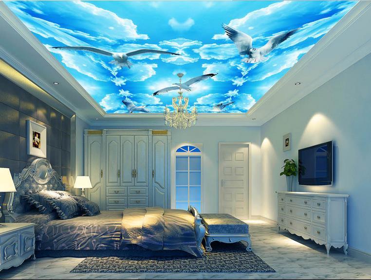 photo wallpaper custom 3d ceiling wallpaper Blue and white pigeons wallpaper for bedroom walls 3d ceiling murals wallpaper <br><br>Aliexpress