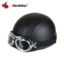 HEROBIKER Black Leather Vintage Motorcycle Helmets Half Face Helmet Motorcycle Unisex Safety Helmet Visor & Goggles
