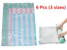 6pcs/lot 3 Size 30*50cm/40*60cm/50*70cm Vacuum Compression Bags For Travelling/Hand Rolling Vacuum Bag  Storage Bags