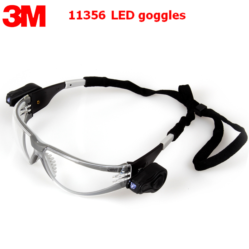 3M 11356 goggles Genuine security 3M protective goggles With double spotlights Nocturnal ride Anti-fog labor protection glasses <br>