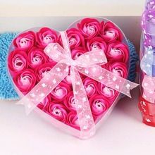 24pcs/Box Heart-shaped Rose Soap Flower For Mother's Day Valentine's Day Wedding party Soap Flowers Gift Petals Decor S2