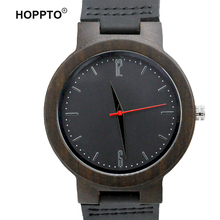 HOPPTO Brand Hand Made Bamboo Wood Unisex Fashion Silver Scale Genuine Leather Mens Wooden Quartz Watch Made by Black Sandalwood(China)