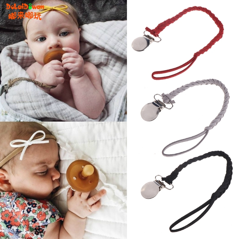 Leather Pacifier Clips Chain Dummy Clip Pacifier Holder Braided Binky Clip Nipple Holder Soother Chain Infant Baby Feeding