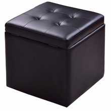 Goplus 40*40*40cm Storage Box Ottoman Square Seat Foot Stool Leather Chair Lounge Cube Hinge Top Black Home Furniture HW56291(China)