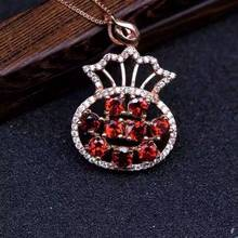natural red garnet pendant S925 silver Natural gemstone Pendant Necklace trendy Elegant Lucky bag purse fan women party jewelry