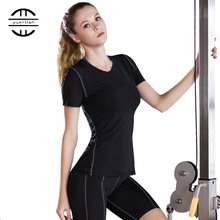 YEL 2016 Quick Dry Compression Tights T-Shirt Women Fitness Training Sports Jersey Running Clothing Yoga Short Sleeve T Shirts