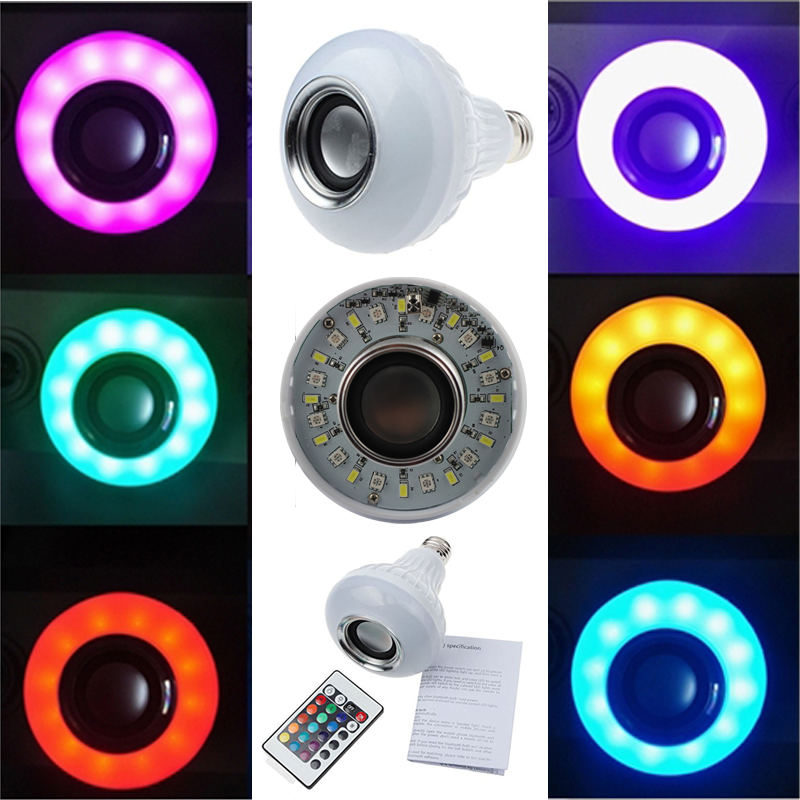 50pcs12W Power E27 LED rgb Bluetooth Speaker Bulb Light Lamp Music Playing &amp; RGB Lighting with Remote Control free Express<br><br>Aliexpress