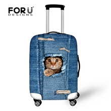 Dropshipping Hot Denim Cats Fashion Brand Women Travel Luggage Protective Cover Elastic Covers Bags for 18-30 Inch Trunk Case(China)