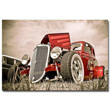 NICOLESHENTING Hot Rod Muscle Car Art Silk Fabric Poster Print Classic Car Pictures For Living Room Decor 020
