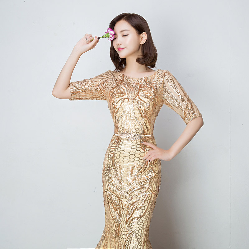 Fishtail Women's Elegant Mermaid Gold Sequins Dress Half Sleeve Evening Dress Party Long Prom Dress kakahu ahiahi