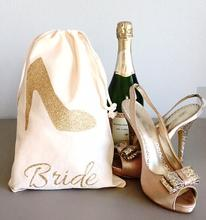 gold high heel bridesmaid name Champagne Party wedding Hangover Kit jewelry favor gift Bags Bachelorette bridal shower favors