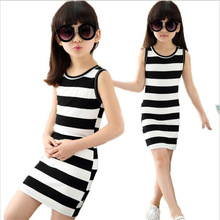 Children dressed in black clothes and white stripes 100% Cotton 3-14 years old vest dresses for teens