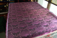 chinese traditional silk brocade fabric black back with purple Wave pattern