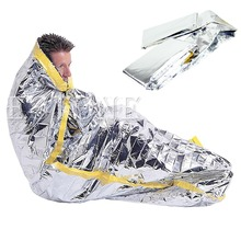 Outdoor Portable Waterproof Reusable Emergency Silver Foil Camping Survival Sleeping Bag(China)