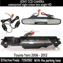HD LED Night Vision Video Auto Parking Monitor backup SONY Car RearView Camera With 4.3inch Car Rearview Mirror for Toyota Yaris(China)
