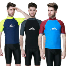 Men Rash Guard Short Sleeve Surfing Vest Diving Shirt SwimmingTop Swimwear Surfing Snorkeling Windsurf Sports Men's Beach Shirt(China)