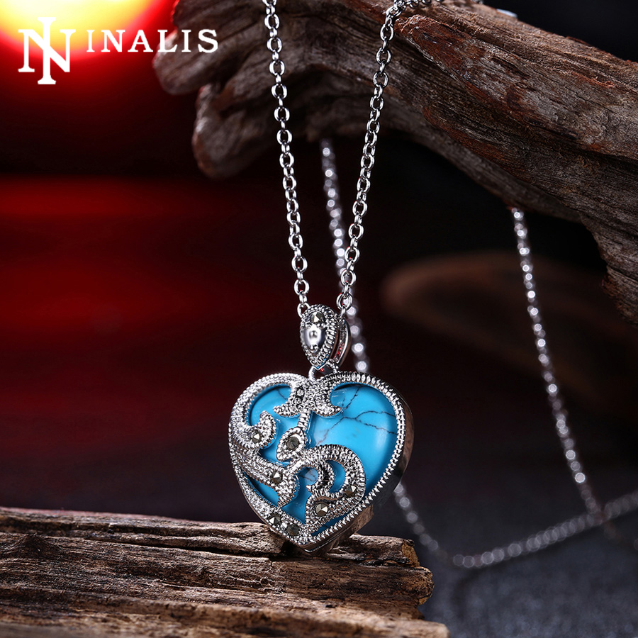 New Fashion White Gold/Black Gold Color Bohemian Vintage Chain Necklace Turquoises Stone Heart Pendant Necklaces for Women Jewel(China (Mainland))