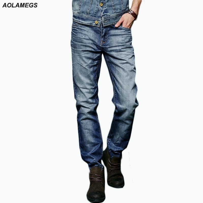 Aolamegs Men Denim Pants Mens Slim Ink Painting Jeans Trousers Men Straight Tide Brand Cowboy Trousers Boys New Cotton Bottoms Îäåæäà è àêñåññóàðû<br><br>