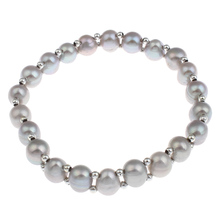 Freshwater Cultured Pearl Bracelet hot Designs grey Pearl Potato pearl beaded Silver-color beads charm bracelets bangles women