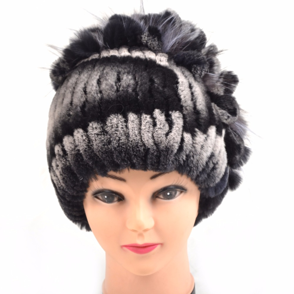 Knitted Hat 2016 Winter real Fur Beanies Headgear For Women With Rabbit Fur Luxury Ball Flower Cap Womens Customized Hat BeanieÎäåæäà è àêñåññóàðû<br><br>