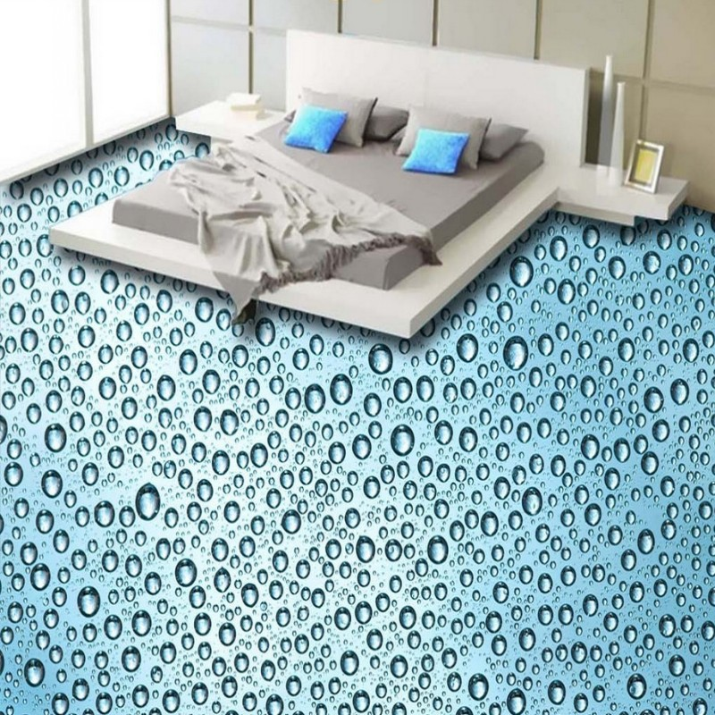 Free Shipping Aesthetic HD Water Drops flooring painting wallpaper cafe non-slip supermarket PVC floor mural<br>