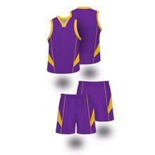 top quality basketball uniform design purple color sublimation printed basketball jersey & bottom(China)