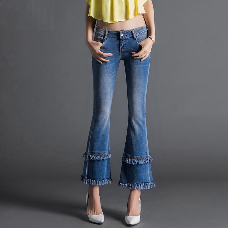 2016 Autumn New Double Layer Tassel Flare Jeans Female Boot Cut Slim Ankle Length Jeans Fashion Soft High Grade Denim TrousersОдежда и ак�е��уары<br><br><br>Aliexpress