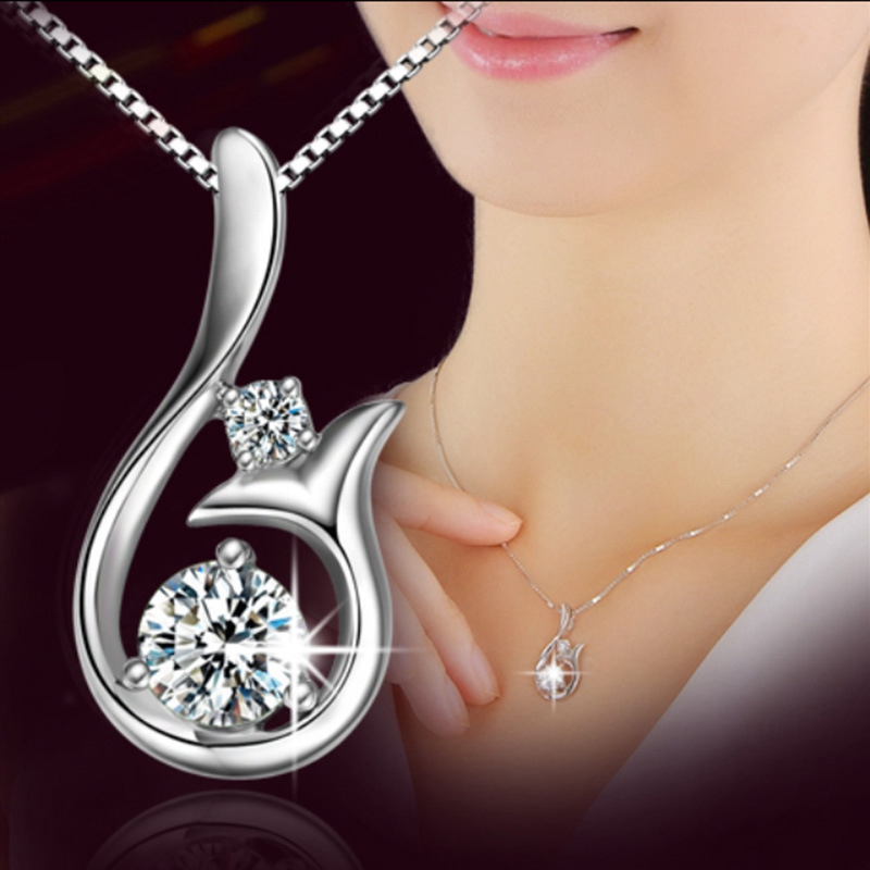 Flawless Big White CZ Diamond Mermaid Pendant Necklace