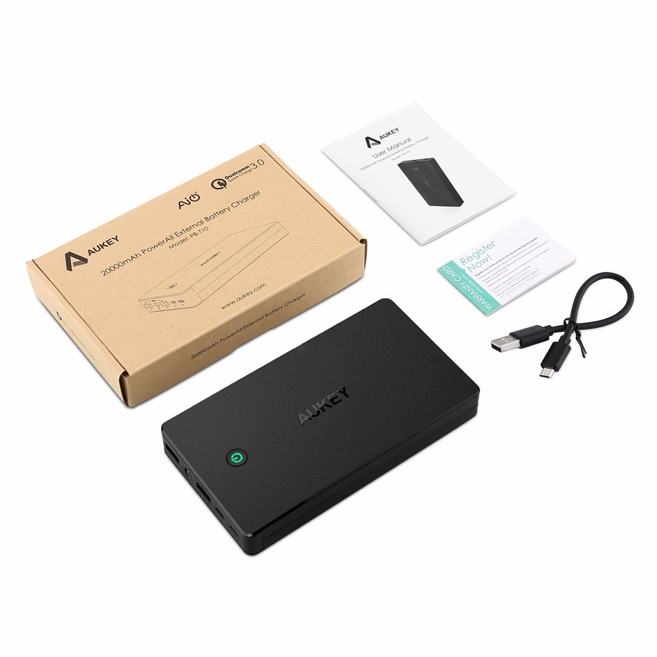 AUKEY 20000mAh Power Bank With Quick Charge 3.0 Fast Charging Dual USB Portable External Battery With Micro USB &Lighting Input