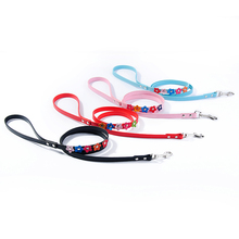 Fashion Sweet Dog Leash PU Leather 120cm Chihuahua Puppy Running Walking Training Leads with Flower Design Pet Shop Wholesales(China)