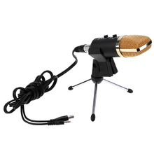 USB Mini Microphone Karaoke Computer Desktop 3.5mm Jack Microphone Condenser Microphone with Mic Tripod Stand for Live Broadcast(China)