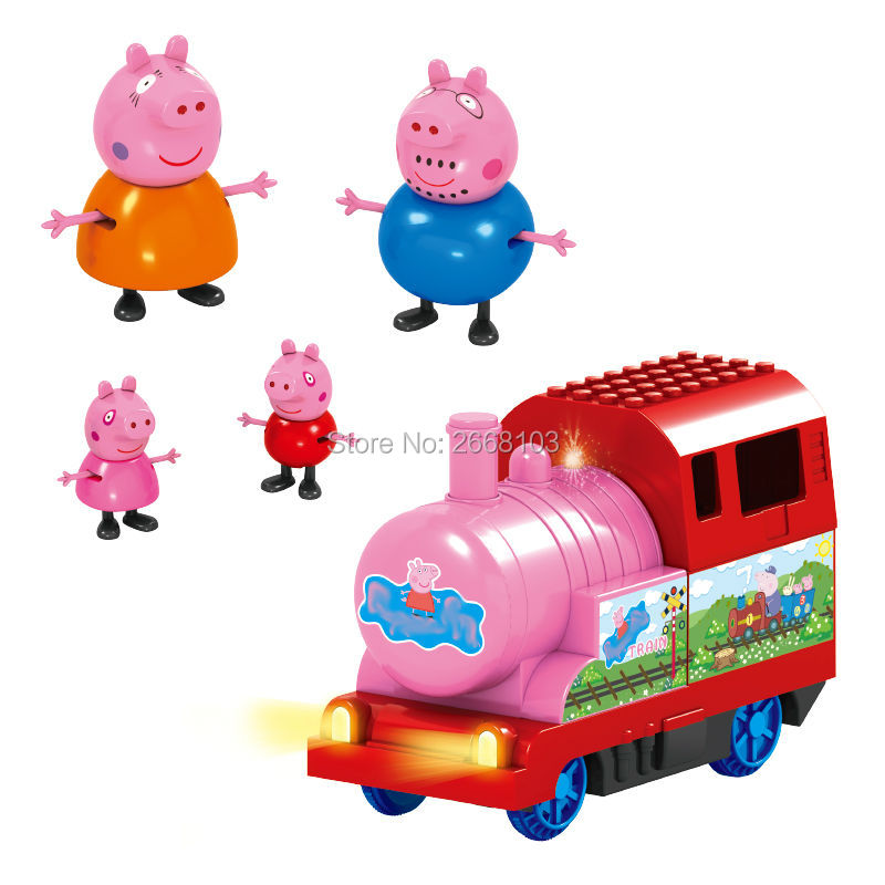 Free Shipping 5PCS/Lot Train Pink Pig Family Cartoon Sets Decoration Educational Toys Birthday Party Gifts Children Animal Model(China (Mainland))