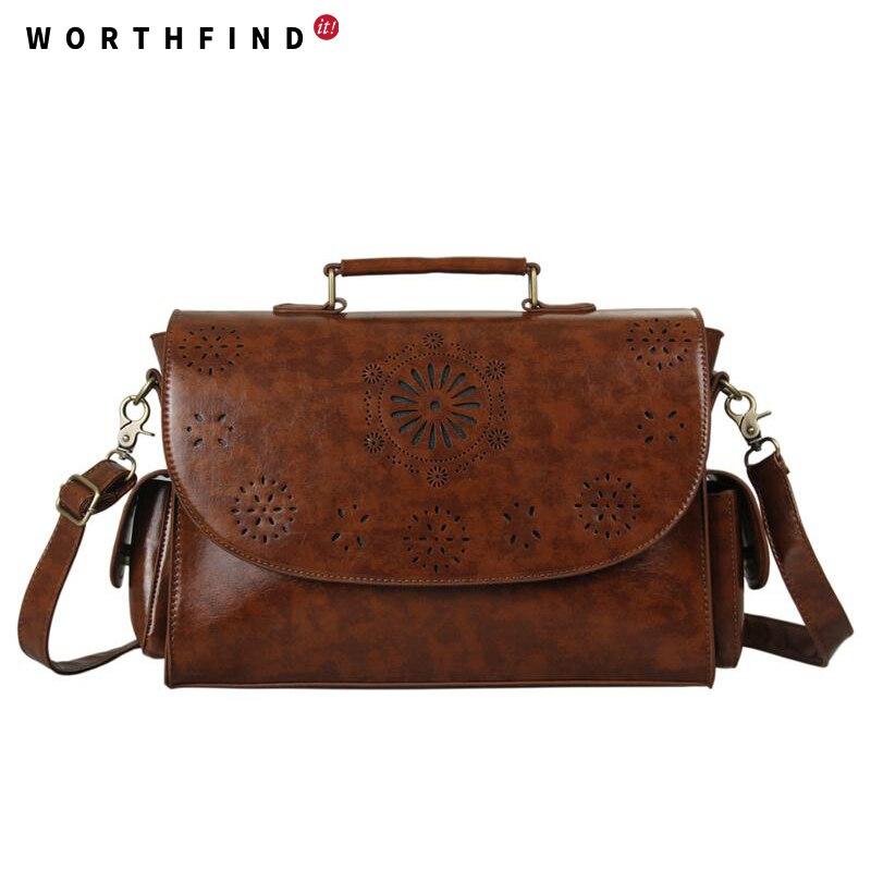 WORTHFIND  2017 Fashion Women Handbags PU Leather Handbags Brown Women Bag Vintage Messenger Bags Office Ladies Briefcase<br>