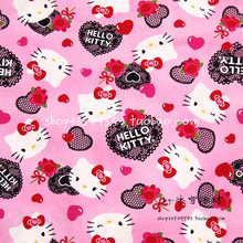 140X100cm Pink Background Hello Kitty Black Lace Sweetheart Cotton Fabric for Baby Girl Cloth Sewing Patchwork DIY-AFCK101