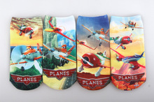 * 4pairs a lot of cotton Baby Socks toddler calcetines children's cartoon children Aircraft Mobilization 3D printing brand Socks