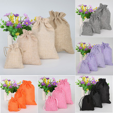 5pcs/lot Vintage Natural Burlap Hessia Gift Candy Bags Wedding Party Favor Pouch Drawstring Jute Gift Bags