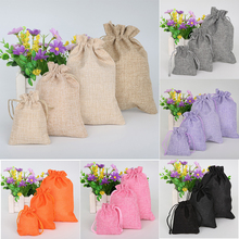 5pcs/lot Vintage Natural Burlap Hessia Gift Candy Bags Wedding Party Favor Pouch Drawstring Jute Gift Bags Packaging Bag(China)