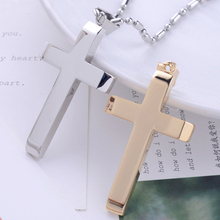 Classical high quality 316L stainless steel gold silver cross pendant necklaces women&men fashion jewelry Free shipping IR196