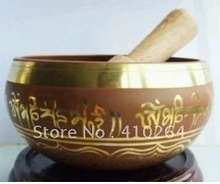 FREE SHIPPING [Nice Discount ] Superb Tibetan OM Ring Gong YOGA Singing Bowl diameter about 9.5cm
