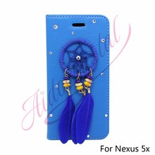 Aidocrystal New Luxury Wallet PU Leather Cover Case For LG Google Nexus 5X Case Flip Shell Dream Catcher Design Cover For Girls