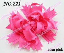 free shipping 145pcs 4.5' neon hair bows Boutique Funky Hair Bow solid hair bows girl hair bow clips(China)