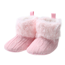 Winter Warm Baby Anti Slip Knitted Shoes Infant Boys Girls Soft Sole Snow Boots Toddlers First Walker Shoes Baby Prewalker 0-18M