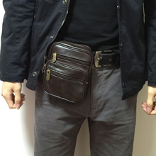 Pu leather Brown Waist bag purse men big waist Packs high quality purse Phone Pouch Travel Fanny Pack Hip Bum Bag