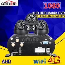 4g gps wifi hdd hard disk ahd mobile dvr 4ch h.264 1080 mdvr kits with waterproof night view camera +indoor car camers for bus(China)