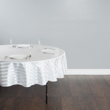 Fedex IE 118 in./300cm Round Striped Tablecloth White for Wedding Event Banquet Party 20/Pack